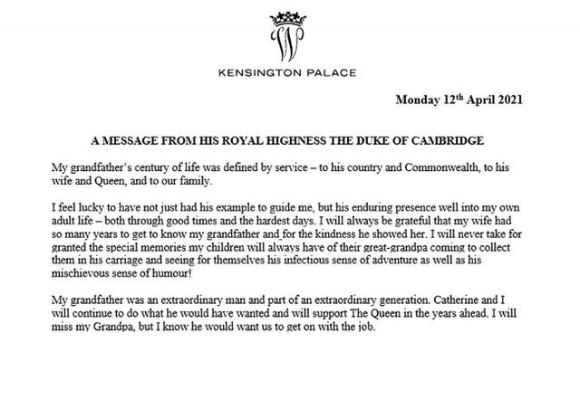 Hoàng tử William và em trai Harry cùng nhau lên tiếng về sự ra đi của Hoàng tế Philip - Ảnh 2.