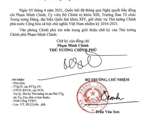 Giới thiệu chữ ký Thủ tướng Phạm Minh Chính và Phó Thủ tướng Lê Minh Khái, Lê Văn Thành - Ảnh 1.