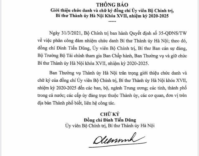Giới thiệu chữ ký Bí thư Thành ủy Hà Nội Đinh Tiến Dũng  - Ảnh 1.