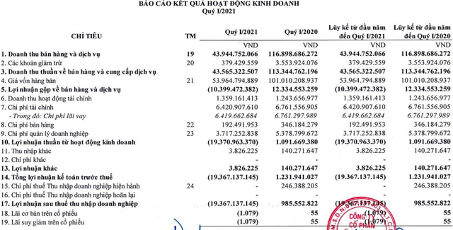 Doanh nghiệp cung cấp suất ăn cho hãng Vietnam Airlines tiếp tục lỗ ròng hơn 19 tỷ quý đầu năm - Ảnh 1.