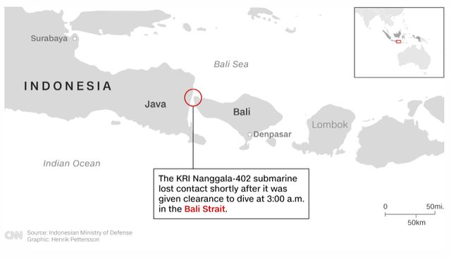 Tàu ngầm Indonesia mất tích cùng 53 người, phát hiện vệt dầu loang đáng ngờ trên mặt biển - Ảnh 1.