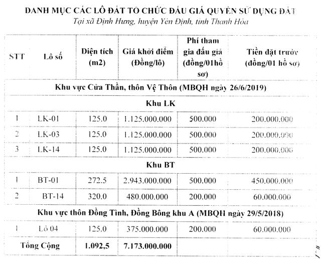 Thanh Hóa sắp đấu giá 6 lô liền kề, biệt thự với giá khởi điểm 375 nghìn đồng/m2 - Ảnh 1.