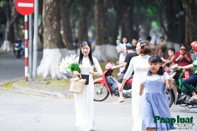 Hà Nội mùa hoa loa kèn về trên phố - Ảnh 4.
