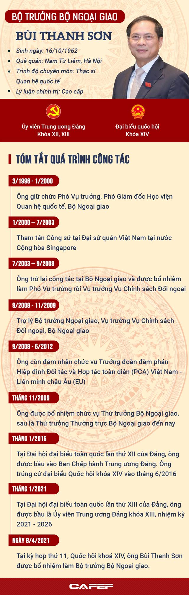 [Infographics]: Tiểu sử Bộ trưởng Bộ Ngoại giao Bùi Thanh Sơn - Ảnh 1.