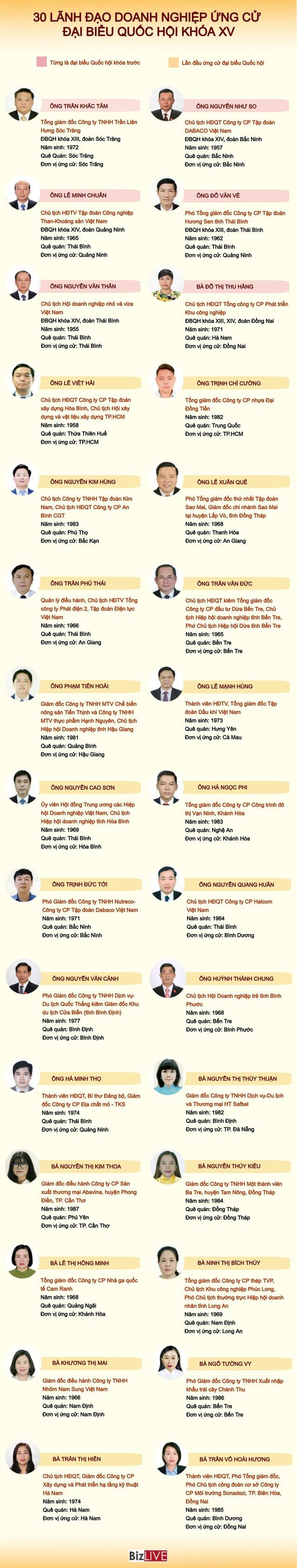 [Infographic] 30 lãnh đạo doanh nghiệp ứng cử đại biểu Quốc hội khóa XV - Ảnh 2.