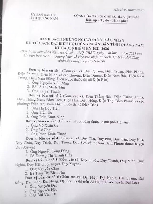 Quảng Nam công bố danh sách 57 người trúng cử đại biểu HĐND tỉnh  - Ảnh 1.