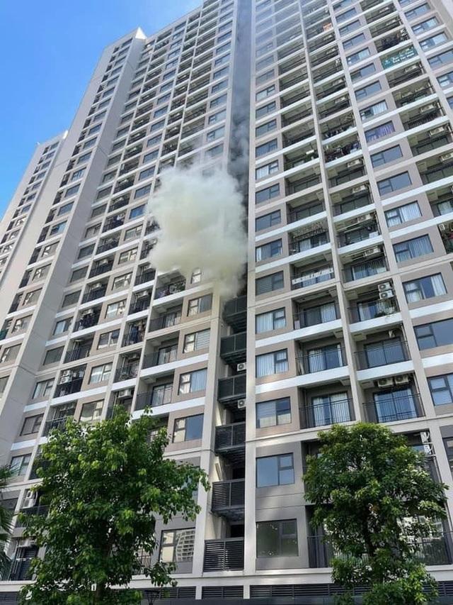 Hà Nội: Cháy khu vực đặt cục nóng điều hoà chung cư cao cấp giữa trời nắng 40 độ - Ảnh 1.