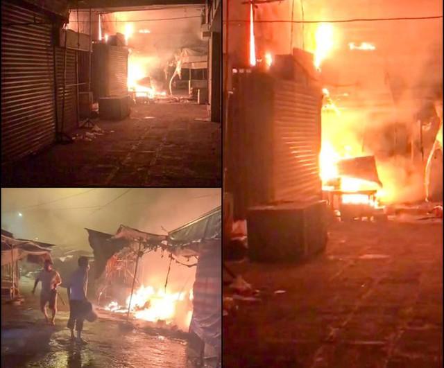 Cháy loạt ki ốt chợ trong đêm ở Hậu Giang  - Ảnh 1.