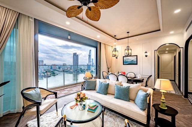 Căn hộ Indochine ăn điểm với cách phối màu cực tinh tế, phòng ngủ chuẩn khách sạn 5 sao với view đỉnh - Ảnh 3.