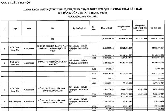 Hà Nội bêu tên 1.936 doanh nghiệp nợ thuế lần đầu - Ảnh 2.