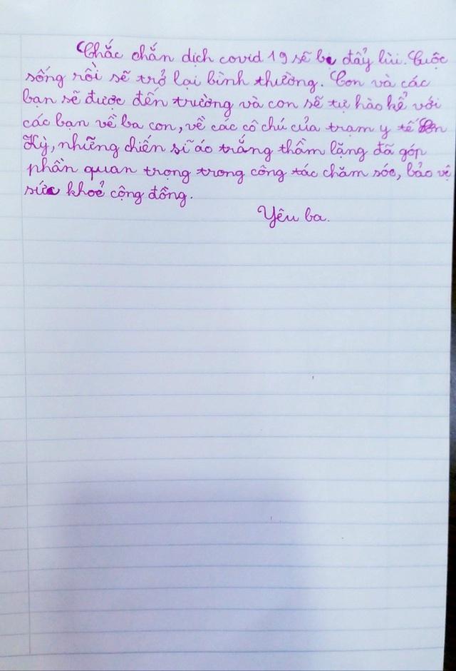 Nhật ký của bé gái lớp 4 gửi bố làm việc nơi tuyến đầu chống dịch: Con ước dịch bệnh qua nhanh để ba sớm về với con! - Ảnh 3.