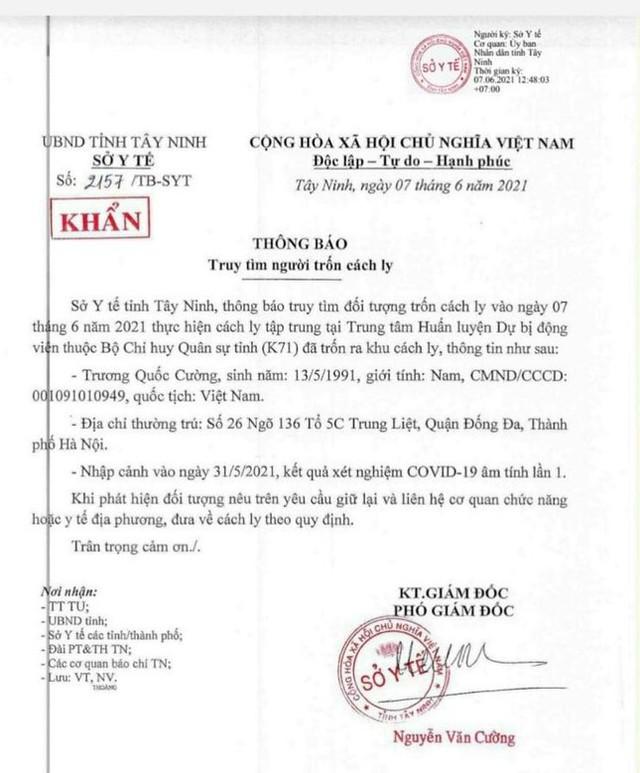 Sở Y tế Tây Ninh thông báo khẩn truy tìm nam thanh niên bỏ trốn khỏi khu cách ly  - Ảnh 1.