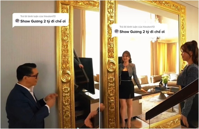 NTK Thái Công gây choáng khi lắp gương dát vàng 2 tỷ VNĐ trong nhà nữ đại gia Sài Gòn: Chủ nhân thấy hạnh phúc khi soi, CĐM chê ra chợ cũng mua được cái tương tự - Ảnh 1.