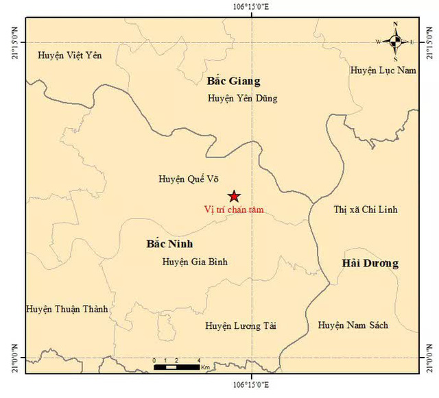Động đất 3 độ gần Hà Nội, nhiều đồ đạc trong nhà rung lắc  - Ảnh 1.