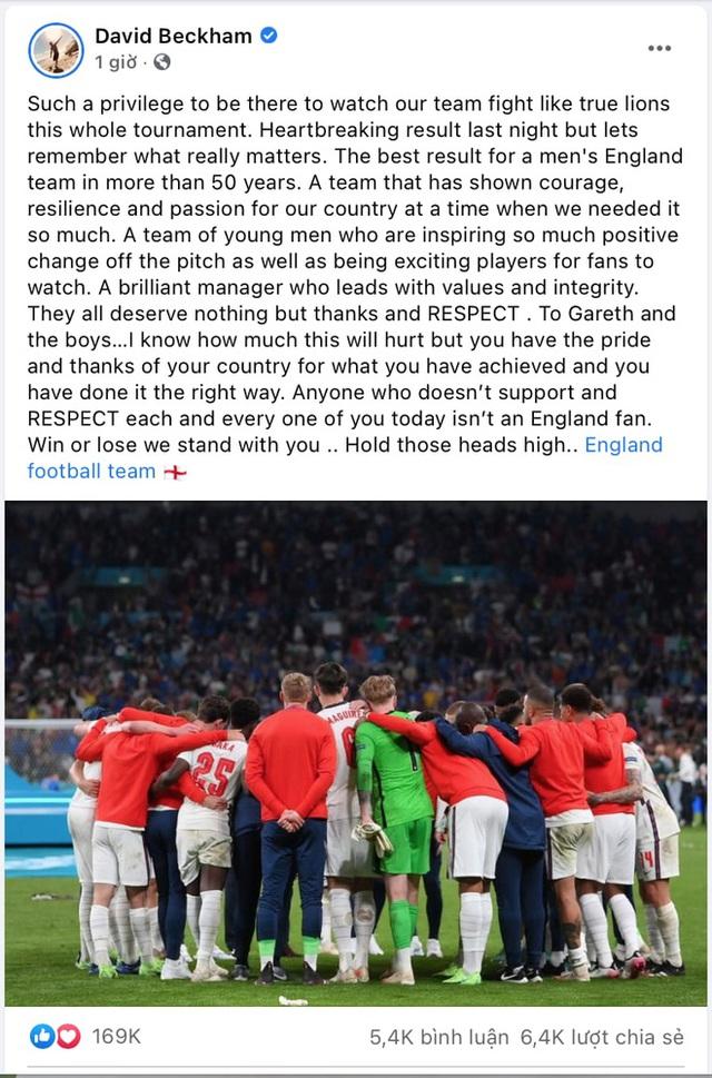 Tâm thư David Beckham gửi tuyển Anh sau khi giấc mơ lịch sử tan vỡ: Xin hãy ngẩng cao đầu, vì các bạn xứng đáng được tôn trọng - Ảnh 2.