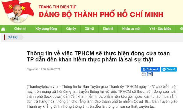 Thông tin 'TPHCM đóng cửa toàn thành phố' là xuyên tạc, sai sự thật - Ảnh 1.