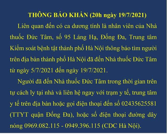Hà Nội thông báo khẩn tìm người đến nhà thuốc 95 Láng Hạ - Ảnh 1.