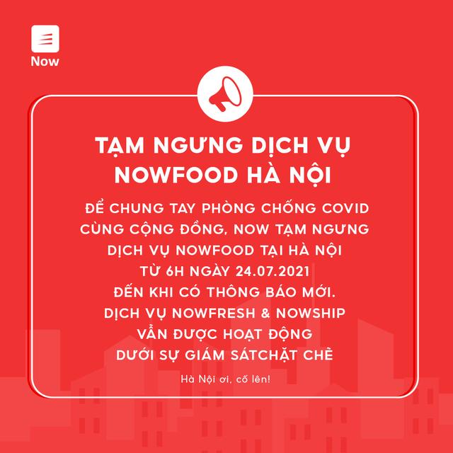 Grab, Baemin, Now thông báo ngừng dịch vụ giao đồ ăn tại Hà Nội - Ảnh 2.