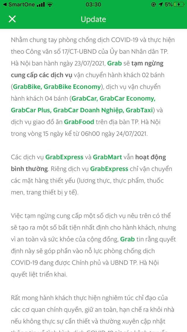 Grab, Baemin, Now thông báo ngừng dịch vụ giao đồ ăn tại Hà Nội - Ảnh 1.