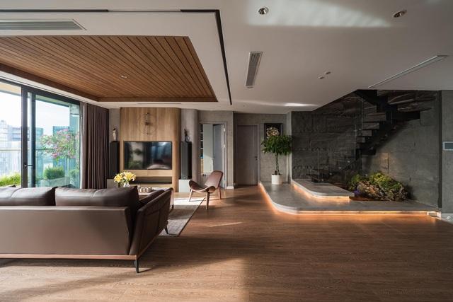 Căn hộ duplex ngập tràn ánh ánh nắng ở Hà Nội: Có nước chảy cây xanh, không gian thoáng đãng cho các hoạt động của gia đình - Ảnh 4.
