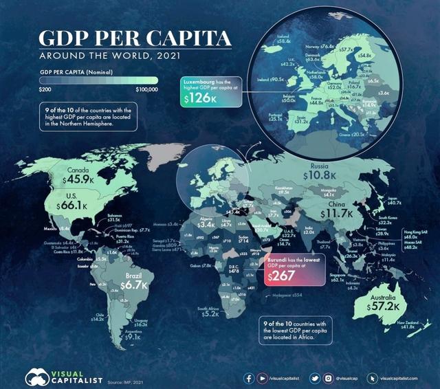 Bức tranh thu nhập bình quân theo đầu người thế giới năm 2021 - Ảnh 1.