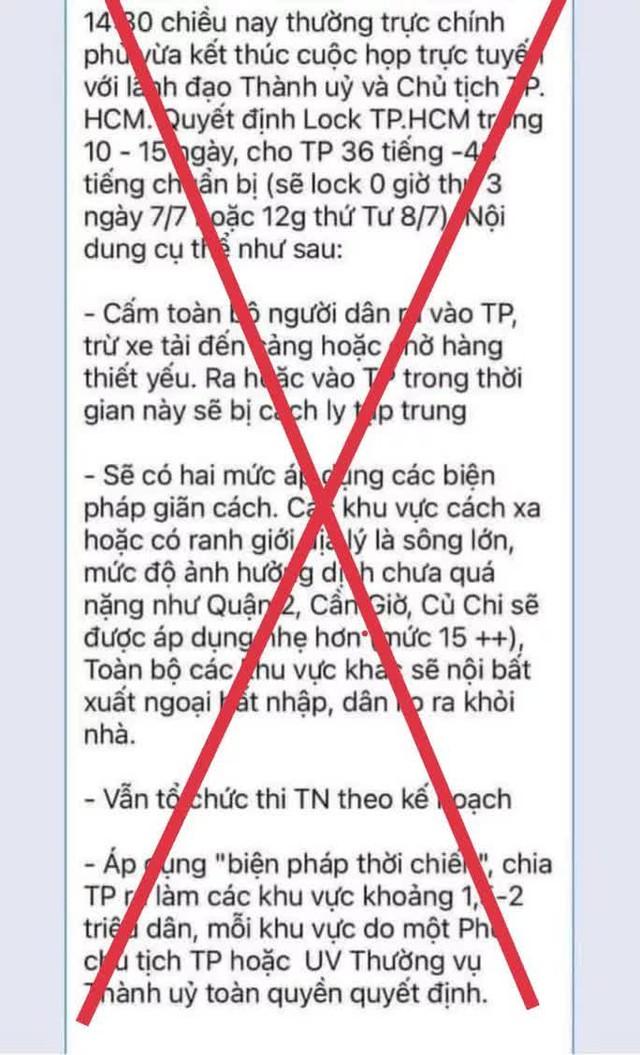 """TP HCM: Bác bỏ thông tin lock TP HCM trong 10-15 ngày""""  - Ảnh 1."""