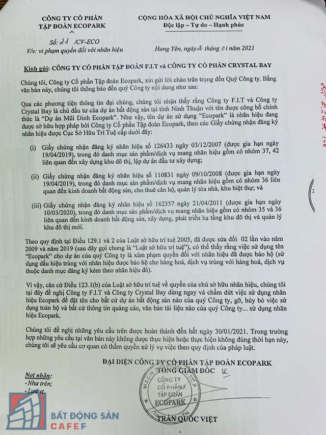Tập đoàn Ecopark bất ngờ tố Crystal Bay và F.I.T có những vi phạm nghiêm trọng, có thể khởi kiện ra tòa - Ảnh 1.