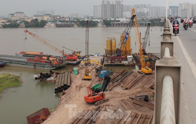 Hiện trạng cầu Vĩnh Tuy 2 sau 6 tháng khởi công - Ảnh 4.