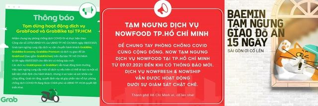 Grab, Gojek, Now, Baemin đồng loạt thông báo tạm ngừng giao đồ ăn tại TP.HCM - Ảnh 1.