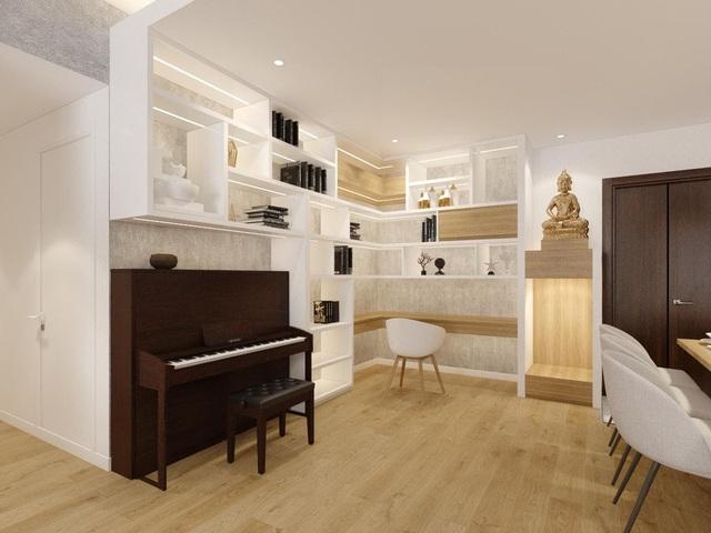 """Không gian căn hộ 99m2 thoáng đãng, rất chill của gia đình thích đọc sách, yêu âm nhạc sau khi được KTS khuyên: """"Thiết kế không gian sống cần lâu dài, đừng ở tạm bợ như ăn ổ bánh mỳ, uống ly sữa"""" - Ảnh 7."""