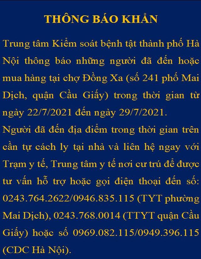 Hà Nội thông báo khẩn tìm người đến chợ Đồng Xa - Ảnh 1.