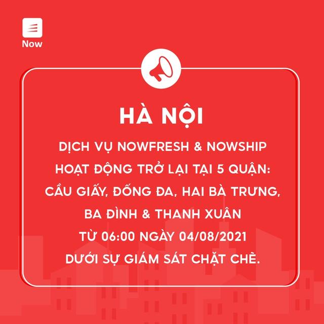 Dịch vụ NowFresh và NowShip hoạt động trở lại tại Hà Nội từ ngày 4/8 - Ảnh 1.