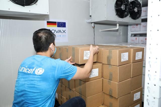 Cận cảnh hơn 850.000 liều vắc xin của Đức được chuyển về kho lạnh tại Hà Nội - Ảnh 1.