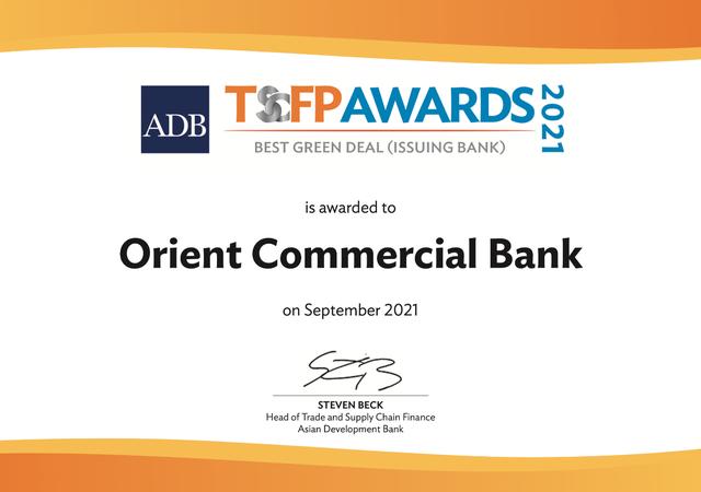 Ưu tiên hoạt động tín dụng xanh, OCB nhận giải Best Green Deal từ ADB  - Ảnh 1.