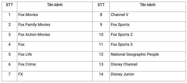 14 kênh truyền hình nước ngoài dừng phát sóng tại Việt Nam từ ngày 1/10 - Ảnh 1.