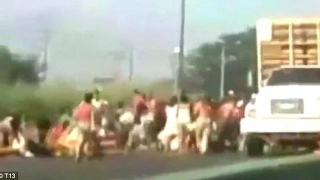 Quá đói, người dân Venezuela chặn xe tải cướp gà