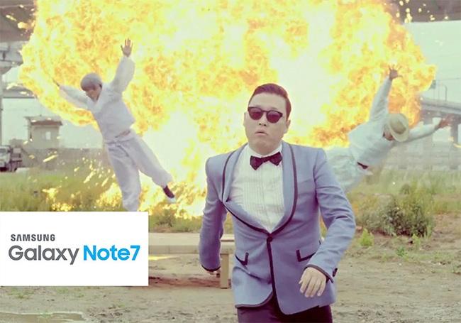 Ảnh chế Galaxy Note 7 phát nổ để có phiên bản màu đen cạnh tranh với Jet Black của Apple
