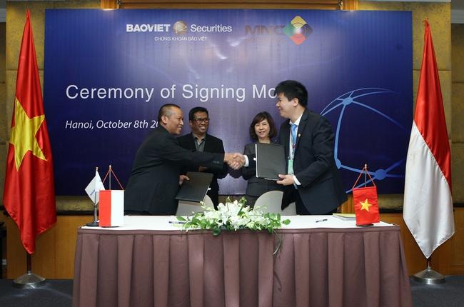 CTCK Bảo Việt là đơn vị đầu tiên ký được thỏa thuận hợp tác song phương với CTCK đến từ Indonesia