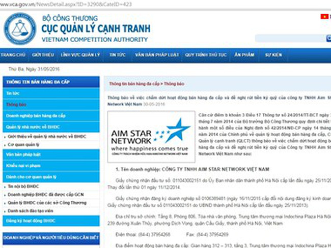 Chấm dứt hoạt động bán hàng đa cấp của Aim Star Network Việt Nam