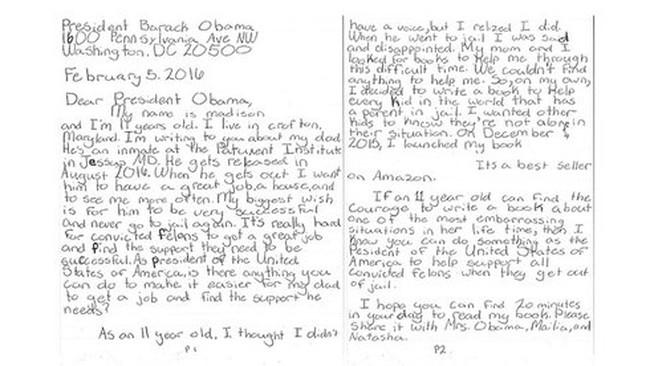 Đây là cách Tổng thống Obama trả lời bức thư từ cô bé có cha ở tù