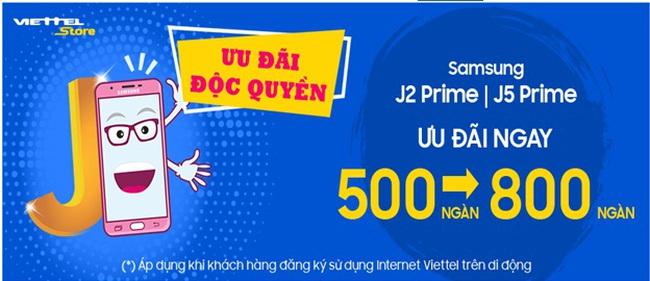 Viettel Store ưu đãi độc quyền từ 500 ngàn đến 800 ngàn cho Samsung Galaxy J2 Prime và J5 Prime