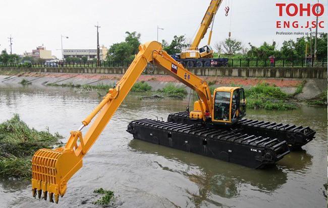 Máy xúc đào lội nước EIK - Phương án thi công nạo vét mới