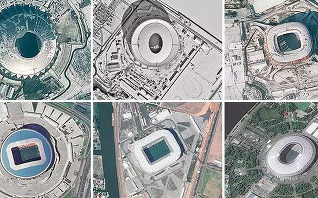 12 sân vận động phục vụ World Cup 2018 nhìn từ vệ tinh