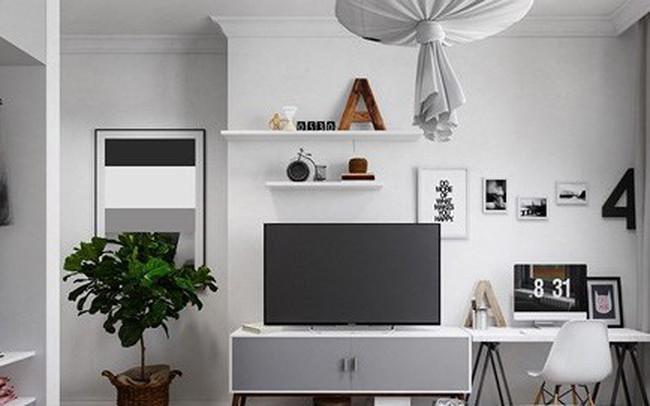 Căn hộ đẹp lạ được trang trí bằng hai màu sắc xám và trắng