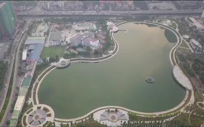 Video: Công viên gần 300 tỷ đồng vừa đưa vào sử dụng ở Hà Nội nhìn từ flycam