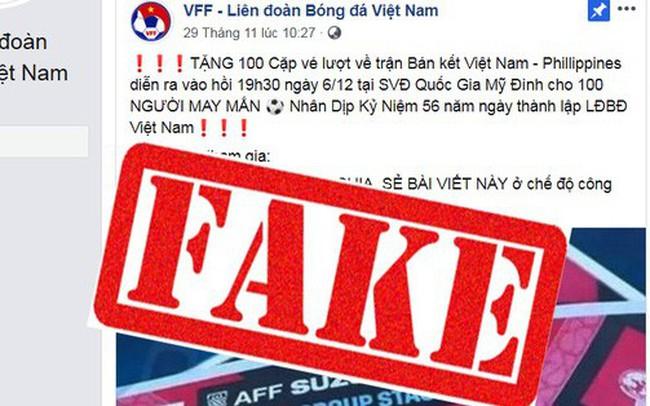 Cảnh báo: Xuất hiện Fanpage Liên đoàn bóng đá Việt Nam giả, tạo sự kiện tặng vé trận Việt Nam vs Philippines