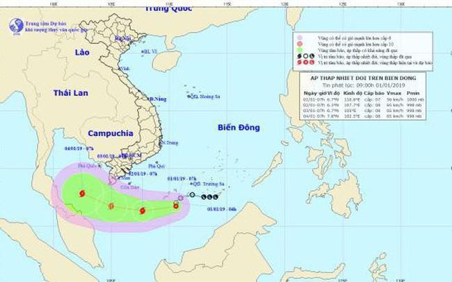 Áp thấp nhiệt đới mạnh lên thành bão, giật cấp 10