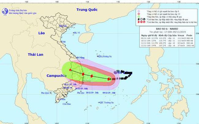 Bão Nakri cách bờ biển các tỉnh Quảng Ngãi - Khánh Hòa khoảng 450km