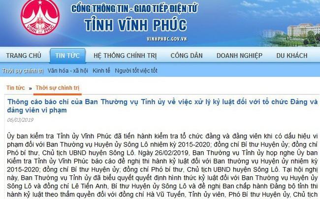 Vĩnh Phúc: Cảnh cáo Bí thư, Chủ tịch UBDN huyện Sông Lô