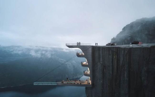"""Sốc: Na Uy """"nhá hàng"""" khách sạn nằm cheo leo trên vách đá cao hơn 600m, cư dân mạng tự hỏi """"ai mà dám ở""""?"""